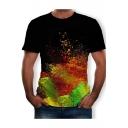 Chic Colorful Splash-Ink Printed Round Neck Short Sleeve Black T-Shirt