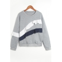 Trendy Flutter Patched Basic Round Neck Long Sleeve Grey Casual Sweatshirt