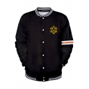 Cartoon Figure Pattern Rib Stand Collar Long Sleeve Black Casual Baseball Jacket