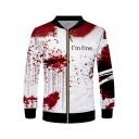 Popular Red Blood Letter I'M FINE Print Stand Collar Zipper Front White Jacket