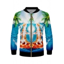 Cute Cartoon Pizza Cat 3D Print Stand Collar Long Sleeve Zip Up Green Jacket