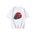New Trendy King of the Monsters Basic Round Neck Short Sleeve White Relaxed T-Shirt