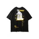 Popular Street Style King of the Monster Letter DAMAGE Casual Loose Cotton Graphic Tee