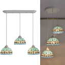 Vintage Style Peacock Tail Pendant Light 3 Lights Stained Glass Hanging Light in Blue for Dining Table