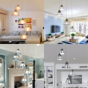 Art Glass Pendant Lamp with Bell/Cone/Dome/Trapezoid Shade Living Room 5 Lights Tiffany Style Hanging Light