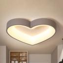 Slim Heart LED Ceiling Mount Light Modern Metal Gray Flush Light in Warm/White for Hallway