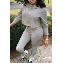 Womens Trendy Solid Color Long Sleeve Zip Up Cropped Grey Hoodie