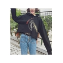 Girls Cool Letter Printed Long Sleeve Cutout Cropped Black Drawstring Hoodie