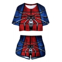 Cool Blue and Red Spider Far From Home Crop Tee with Casual Shorts Sport Two-Piece Set