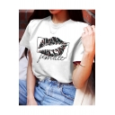 Fashion Letter FEMALE Lip Graphic Printed Round Neck Short Sleeve White Tee