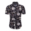 Teenagers Cool Black Letter Graffiti Pattern Short Sleeve Button Up Fitted Shirt