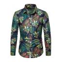 Vintage Green Summer Tropical Pineapple Printed Long Sleeve Slim Fitted Hawaiian Shirt