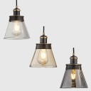 Retro Stylish Pendant Light Bucket Shade One Light Amber/Clear/Smoke Gray Glass Hanging Light for Foyer