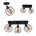 Cloth Shop Orb Cage Ceiling Mount Light Metal 1/2/3 Lights Vintage Black Rotatable Flush Light