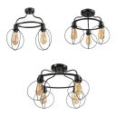 Black Round Semi Flush Light with Cage 2/3/4 Lights Industrial Metal Ceiling Fixture for Villa