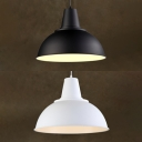 Aluminum Bowl Shade Suspension Light 1 Head Vintage Style Hanging Light in Black/White for Cyber Cafe