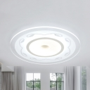 Study Room Ring Flush Mount Light with Leaf Acrylic Modern Warm/White Lighting LED Ceiling Lamp