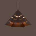 Restaurant Cone Pendant Light with Leaf Shape Hollow Metal 1 Light Antique Rust Hanging Light