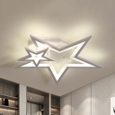 Kid Bedroom Star Semi Flush Mount Light Metal Cartoon Warm/White Lighting LED Ceiling Lamp