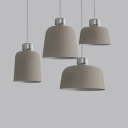 Macaron Style Dome Pendant Lamp Metal One Head Gray Hanging Light for Living Room Study Room