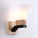 Nodice Style Led Lighting White Frosted Glass Shade Uplighting Wall Light with Wood Base