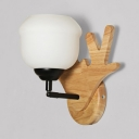 White Frosted Glass Lighting Single Wall Light with Nature Rubber Wood Base in Black Finish