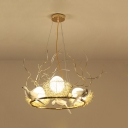 Rustic Style Gold Chandelier Egg 3 Lights Glass Resin Pendant Lamp with Bird&Nest for Dining Room