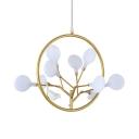 Elegant Plant Design Chandelier 9 Lights Metal Ceiling Lamp in Gold for Bedroom Study Room