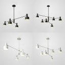 Nodic Style Indoor LED Lighting 4/6 Light Metal Chandelier in White/Black Finish for Dining-hall Bedroom Living room