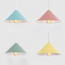 Cone Shade Kid Bedroom Pendant Light Metal 1 Light Macaron Loft Hanging Light in Blue/Green/Pink/Yellow