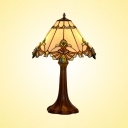 One Light Conical Table Light Tiffany Traditional Stained Glass Desk Light for Restaurant
