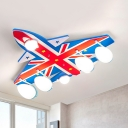 Eye-Caring Plane Ceiling Mount Light American Style Metal Flush Light in Warm/White for Child Bedroom