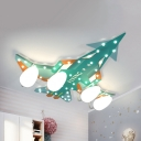 Blue/Green Plane LED Flush Ceiling Light 4 Lights Kids Eye-Caring Ceiling Fixture for Nursing Room