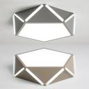 Corridor Pentagon LED Flush Ceiling Light Acrylic Modern Warm/White Lighting Flush Light in Coffee/Gray