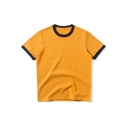 Summer Vintage Contrast Trim Basic Round Neck Short Sleeve Loose Fit T-Shirt
