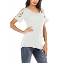 Womens Summer Hollow Out Short Sleeve Round Neck Simple Plain Casual Tee