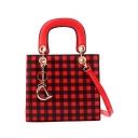 Fashion Plaid Pattern Metal Pendant Embellishment Satchel Shoulder Bag 21*19*10 CM