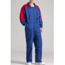 Mens Stylish Color Block Simple Plain Double Zipper Front Long Sleeve Blue Workwear Mechanic Coveralls
