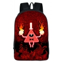 Popular Fashion Cosplay Red Fire Printed Large Capacity School Bag Backpack 29*16*42 CM