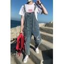 Guys Stylish Destroyed Ripped Hole Straight Washed Blue Denim Overalls Jumpsuits