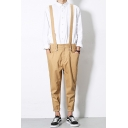 Mens New Stylish Solid Color Rolled Cuff Casual Tapered Trousers Suspender Pants