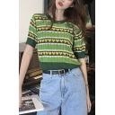 Summer Vintage Fashion Avocado Green Sweet Heart Printed Round Neck Short Sleeve Knit T-Shirt