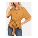Women's Summer Fashion Plain Button Front Tied Waist Yellow Shirt Blouse
