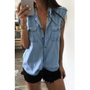 Womens Summer Cool Simple Plain Button Front Pocket Chest Casual Loose Blue Denim Shirt