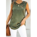 Trendy Simple Plain Cutout Detail Round Neck Sleeveless Loose Casual Tank Top