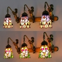 3 Lights Mermaid Wall Sconce with Flower/Peacock Tail Rustic Stained Glass Wall Light for Bedroom