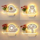Contemporary Animal/Plant Wall Light Acrylic White LED Sconce Light with Vase for Child Bedroom