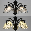 5 Light Conical Pendant Light Rustic Style Beige/Clear Glass Chandelier with Leaf for Bedroom