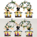 3 Lights House Chandelier Rustic Stained Glass Hanging Light with Flower for Restaurant Hotel