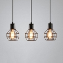 Antique Style Wire Frame Pendant Lamp 3 Lights Metal Hanging Light in Black for Dining Room